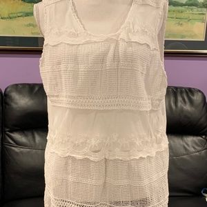 Relativity White Lace Lined Tank top - XL